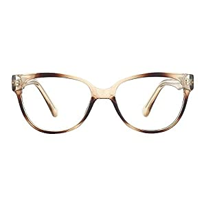 TIJN Women Vintage Cateye Eyeglasses Frame Glasses Wide Temple Plastic Eyewear-Brown
