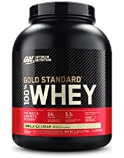 Optimum Nutrition ON Gold Standard Whey proteïnepoeder, eiwitpoeder voor spieropbouw, natuurlijk opgenomen BCAA en glutamine Whey 2.24-2.28kg Vanilla Ice Cream