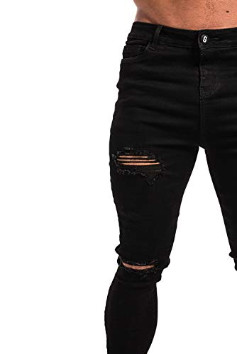 a56f17c1d949 GINGTTO Mens Skinny Jeans Stretch Slim Fit Black Ripped Jeans Men 28 ...