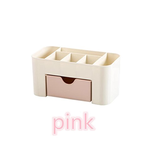 Clearance Deal! Hot Sale! Storage Box Basket, Fitfulvan Saving Space Desktop Comestics Makeup Storage Drawer Type Box (Pink)