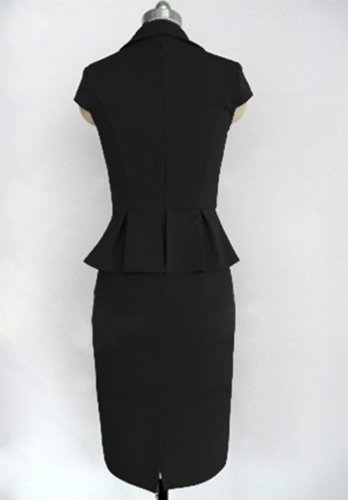 Little Hand Womens Vintage Pinup Flouncing Bodycon Fitted Pencil Dress Black L