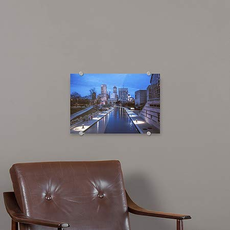 CGSignLab Circle CaptureThe Indianapolis Riverwalk in The Early Evening Premium Acrylic Sign 36x24