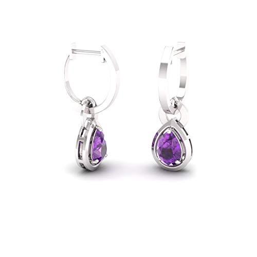 Amethyst Drop 14k - Diamondere Natural and Certified Amethyst Drop Earrings in 14K White Gold | 0.64 Carat Earrings for Women