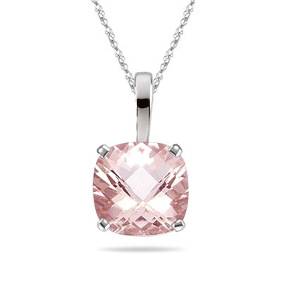 - 1.61-2.04 Cts of 8x8 mm AAA Cushion Checker Board Morganite Solitaire Scroll Pendant in Platinum
