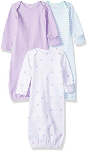 Infant Nightgown - Amazon Essentials Baby Girls 3-Pack Sleeper Gown, Dots, 0-6M