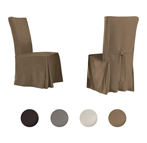 (Serta | Relaxed Fit Smooth Suede Furniture Slipcover for Dining Room Chair (Set of 2), Long Skirt)