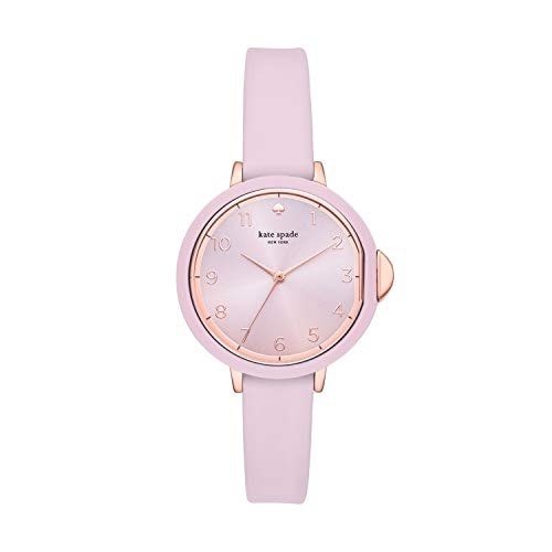 kate spade new york Women's Park Row Stainless Steel Japanese Quartz Watch with Silicone Strap, Pink, 12 (Model: KSW1477)