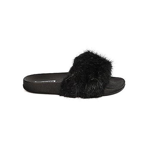 6ef1e4fff5a0 lovely Cape Robbin Moira-2 Women Flip Flop Marabou Fur Slide Slip On Flats  Sandals