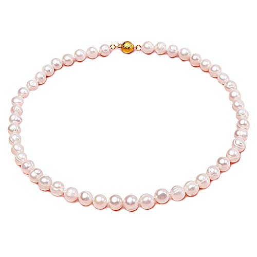Baroque Necklace Strands Double Pearl (JYX 7-8mm Oval Natural White Freshwater Pearl Necklace Stand 17