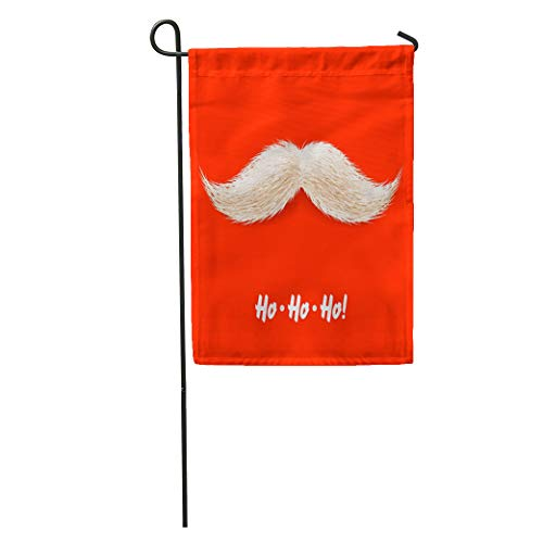 Semtomn Garden Flag Happy Santa Mustache Claus Holiday Xmas Beard Party Year Hair Home Yard House Decor Barnner Outdoor Stand 28x40 Inches Flag]()