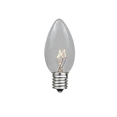 Novelty Lights 25 Pack C7 Outdoor Christmas Replacement Bulbs, C7/E12 Candelabra Base, 5 Watt