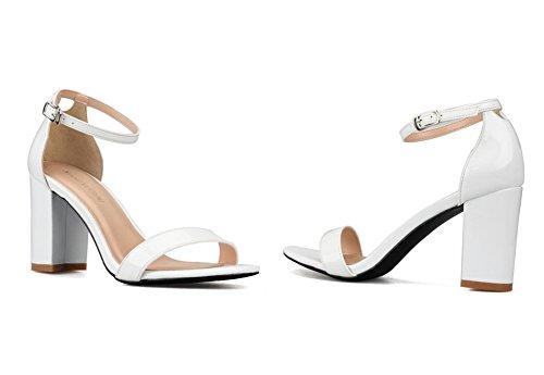 8 Strappy Nvxie White Hebilla Señoras Fiesta Sandalias Tobillo 3 Bloquear Tacón Mujer Tamaño Correa Noche Paseo Zapatos 0nBqUwZ0