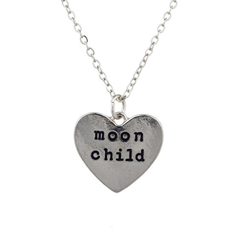 Lux Accessories Silvertone Moon Child Heart Engraved Verbiage Charm Necklace (Stevie Nicks Moon Necklace)