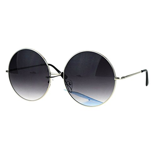 Womens Huge Oversize Large Retro Hippie Round Circle Lens Sunglasses Silver - Sunglasses Dope