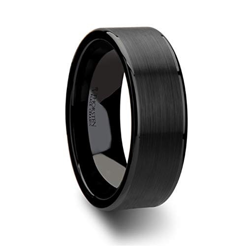Thorsten Vulcan | Tungsten Rings for Men | Carbide | Comfort Fit | Flat Black Wedding Ring Band with Matte Brushed Finish Polished Edges - 6mm