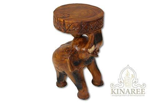 Kinaree Holz Beistelltisch Chang geschnitzt als Elefant aus massivem Suar