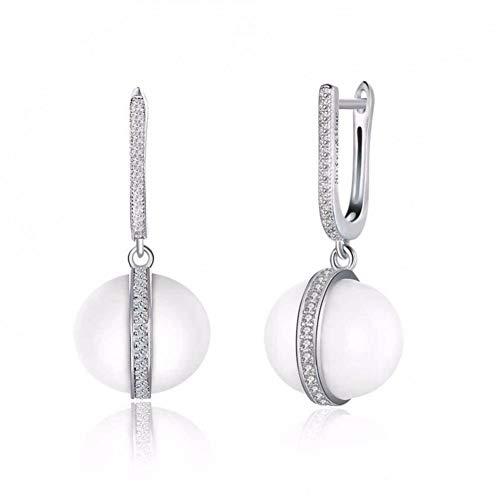 (HCBYJ earring Women's 925 Sterling Silver Earrings White Ceramic)