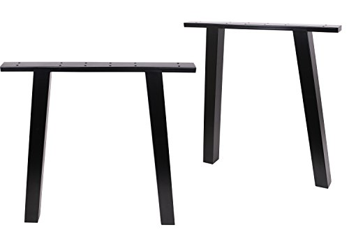 "ECLV N-710-K Dining Table Legs, Vintage Steel Table Legs, Office Table Legs, Computer Desk Legs, Industrial Kitchen Table Legs, 28"" L, Black, Set of 2"