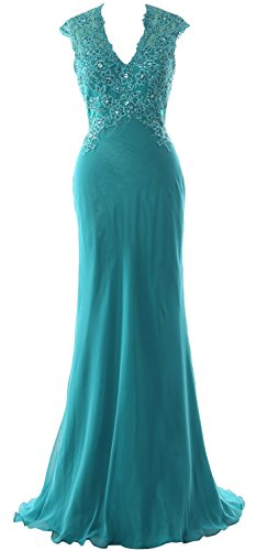 Chiffon Turquoise of V The Evening Mother Lace Women MACloth Neck Dress Formal Bride Gown qCOT0A