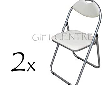 2x Folding Chair Cream Faux Leather Seat U0026 Back With Silver Powder Coated  Frame