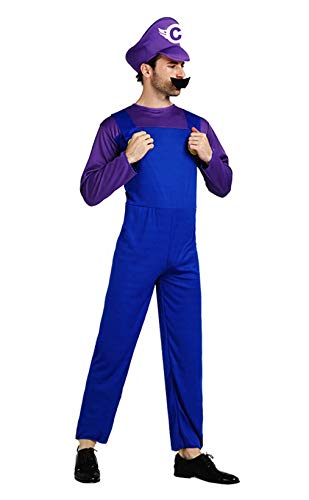 Super Maryo Brothers Cosplay Costumes Odyssey Wario Luigii Waluigi Jumpsuits for Adult Purple ()