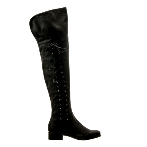 Angkorly - Scarpe da Moda Stivali Alti Stivali - Scarponi cavalier flessibile donna lacci nodo Tacco a blocco 3.5 CM - Nero