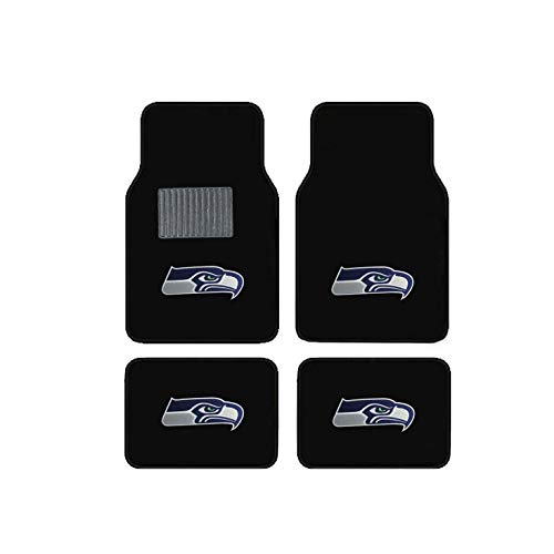 Newly Released Licensed Seattle Seahawks Embroidered Logo Carpet Floor Mats. Wow Logo on All 4 Mats.