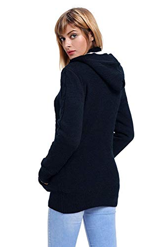 Betrothales Betrothales Cardi A A Frühling Incappucciato Maglia Lunga Manica Donna Cappotto Schwarz qwzrBq