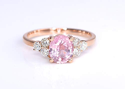 Natural Padparadscha Sapphire and Diamonds Statement Cocktail Engagement Ring Lotus Orange Pink Color 1.95 ct 14K Rose Gold New Size 7 1/4 Certified