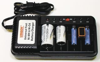Universal Battery Charging Station, NiMh & NiCd Batteries, 4 Ports, LED Indicators, - Galleria Online