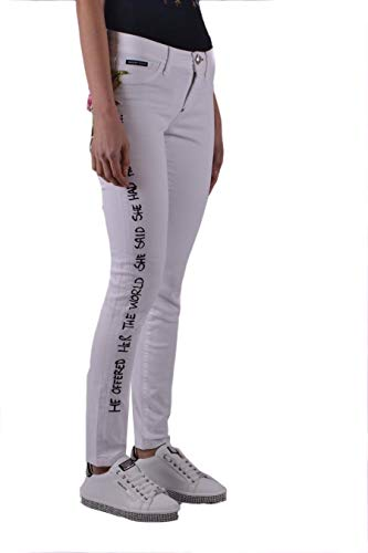 Mujer Philipp Wdt0574pde001n01aa Blanco Plein Algodon Jeans 55rqZzv