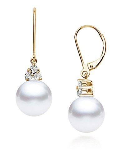 14k Yellow Gold AAAA Quality Japanese Akoya Cultured Pearl Diamond Dangle Earrings (7.5-8mm)