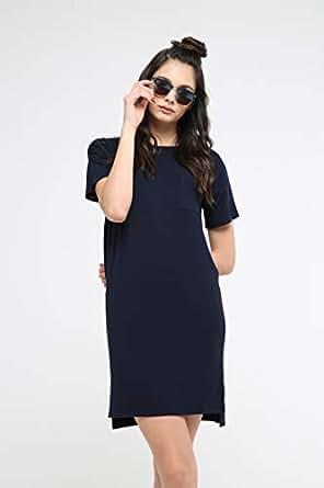 TruEagle Modal T-Shirt Sheath Dress for Women, Dark Blue