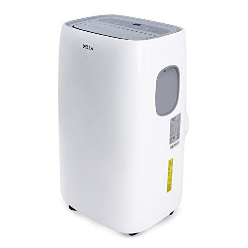 DELLA 10,000 BTU Portable Air Conditioner AC with Self Evaporation System Fan Dehumidifier for Rooms Up to 450 Sq. Ft. Remote Control, Silver Ion Filter, Quiet Operation White