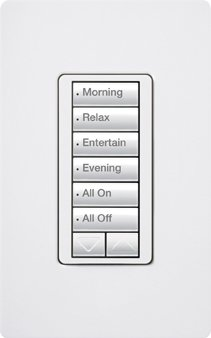 Lutron RRD-W6BRL-WH Wall Box Mount 6 Button With Raise/Lower Designer keypad 120 Volt AC 0.5 Amp Gloss White RadioRA2 by Lutron