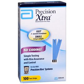 Precision Xtra Glucose Test Strips - 100 ct, NOT KETONE TEST STRIPS