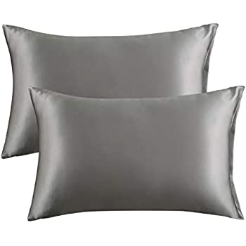 Bedsure Satin Pillowcase for Hair and Skin, 2-Pack - Queen Size (20x30 inches) Pillow Cases - Satin Pillow Covers with Envelope Closure, Dark Grey