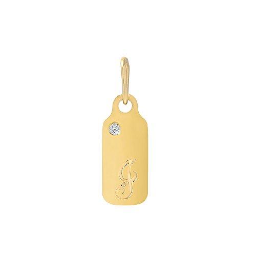 Mini Mini Jewels 14k Yellow Gold Diamond April Birthstone Cursive Letter J Dog-tag Pendant ()