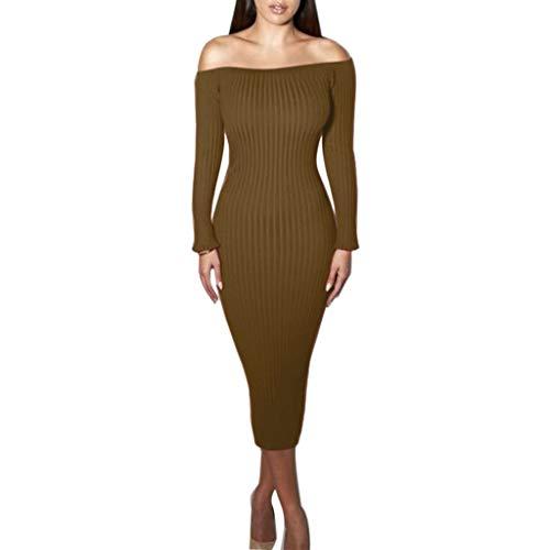 Sunhusing Women's Stretch Knitted Collar Off-Shoulder Dress Elegant Fishtail Wrap Step Long ()