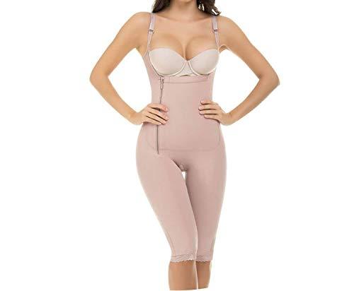 Women Firm Tummy Control Shapewear Post Surgery Postpartum Colombian Open Bust Body Shaper Capri Thin Straps,nude,6XL