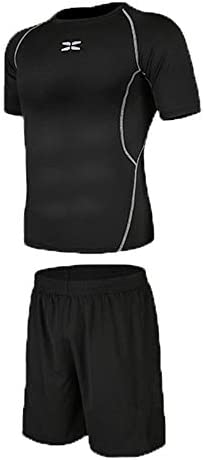 レディースジャージ上下セット Tシャツと緩いショートパンツメンズベース層クールドライフィットネススポーツスーツ圧縮半袖 吸汗 速乾 (Color : Black, Size : S)