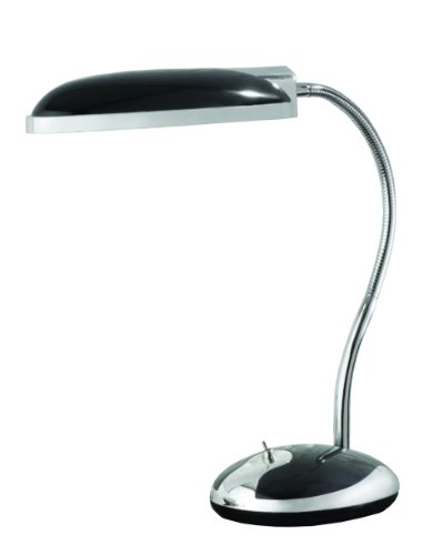 Black Deluxe Desk Lamp - Normande Lighting GP3-718-BK Fluorescent Retro Desk Lamp, 96