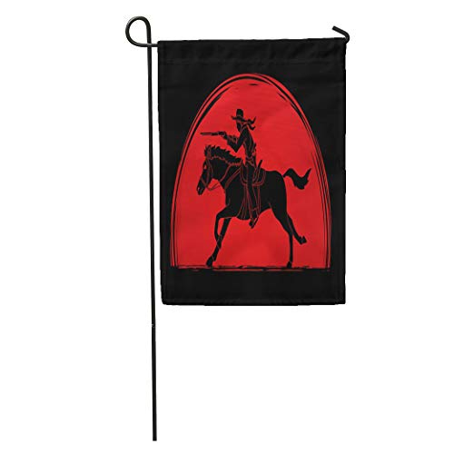 (Semtomn Garden Flag Action Cowboy on Horse Aiming Rifle Sunlight Graphic Adventure American Home Yard House Decor Barnner Outdoor Stand 28x40 Inches Flag)