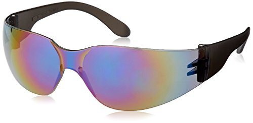 Rainbow Mirror Lens - Safety Glasses, Lightweight Wraparound Frame, Rainbow Mirror Lens, MR01R0ID