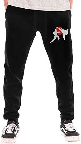 カジュアルパンツ 対する 男子, カジュアルな 2人の空手道 綿の 長ズボン
