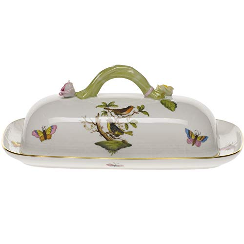 Herend Rothschild Bird Porcelain Covered Butter Dish With Branch Handle