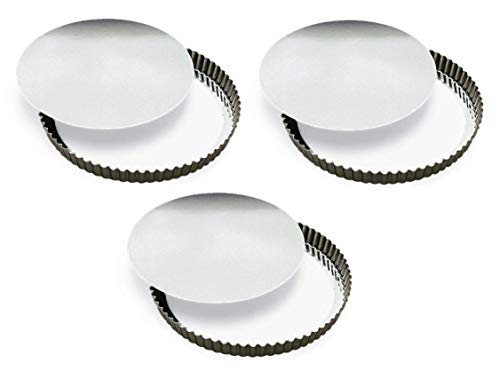 GOBEL 126640 11'' (28cm) / 1.40'' High - TIN Rem.Fluted Quiche Pan- SET OF 3 - [ GREAT VALUE! ] by Gobel