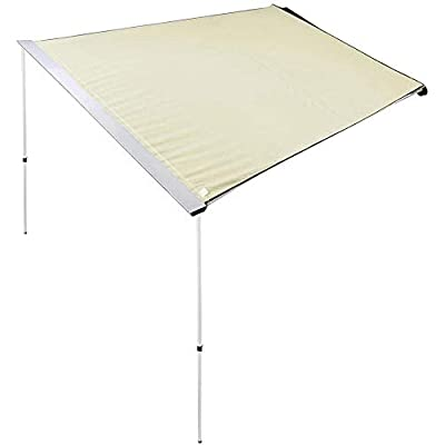 "LeeMas Inc co Beige 8'2"" x 7'8"" Vehicle Rooftop Side Awning Car Shelter Provide 67sq.ft Shade for Boating Camping Sporting Event Festival: Sports & Outdoors"