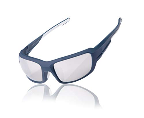 White Frame Silver Mirror Lenses - Plastic Sport Blue and White Frame with Silver Mirror Lens, Pouch Included