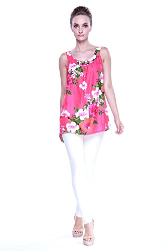 Aloha Fashion Women's Hawaiian Floral Tank Top in Hot Pink with Panel Floral 2XL